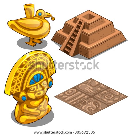 Golden statues and architecture of the ancient tribes of the Mayas. Vector illustration.