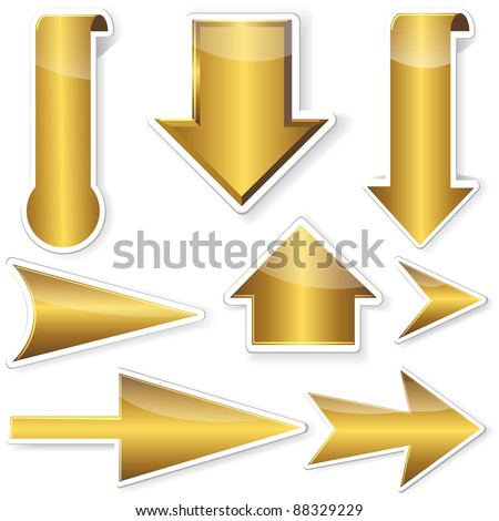 Golden stickers from arrows. 10EPS. Vector illustration.