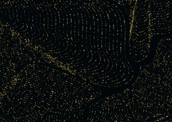 Golden striped luxurious glitter background of round confetti particles. Perfect festive overlay template Vector Illustration. Gold topographic lines map on a black luxury background.
