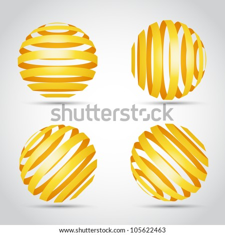 Golden stripes planet - stock vector