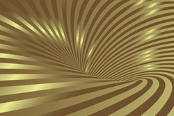 Golden Swirling radial vortex vector background. Luxury Gold swirling background. 3d Abstract Lines Design. Whirlpool or vortex shape. Distorted geometry. Vector illustration. EPS 10
