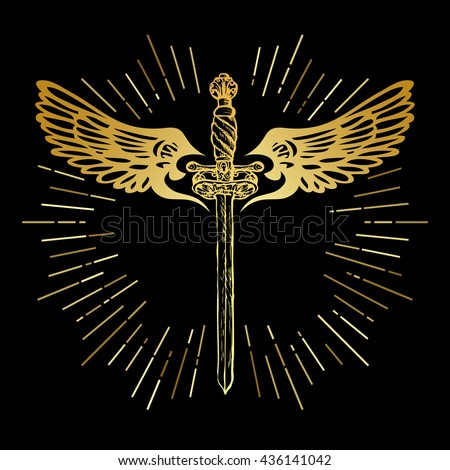 golden sword and wings ornate