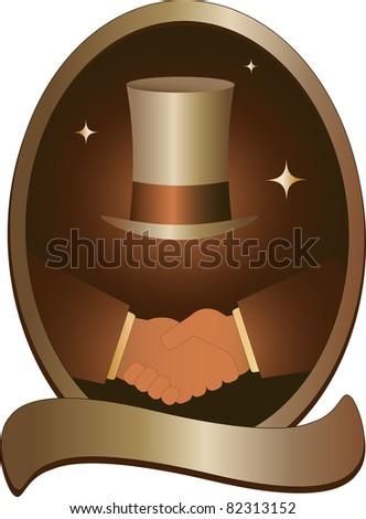golden symbol with handshake and hat