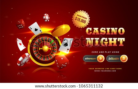 Golden text Casino Night with 3D chip, coins, ace cards, and roulette on sparkling red background. Flyer, poster or banner design with Cryptocurrencies accepted.