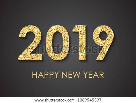 Golden text 2019 Happy New Year text for greeting card on black background, calendar, invitation. Vector illustration.