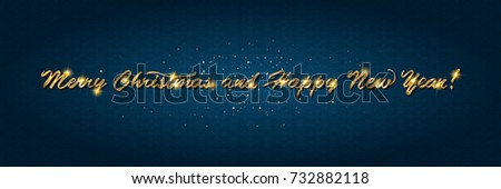 Golden text on dark background. Merry Christmas and Happy New Year lettering for invitation and greeting card, prints and posters. Hand drawn inscription, calligraphic design. Vector illustration