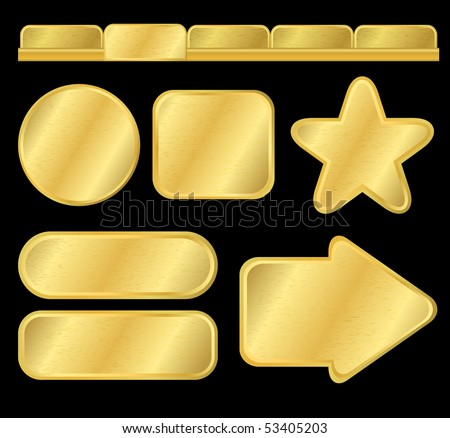 Golden textured buttons and menu