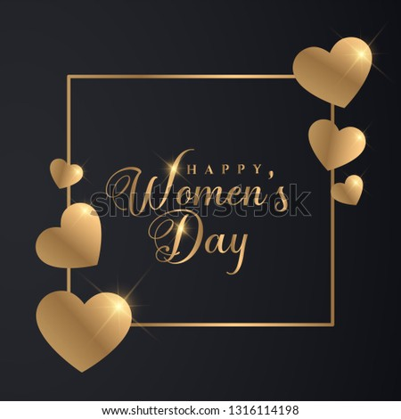 Golden 8th March Womens Day Banner. Luxury Golden Women's Day Design.  #1316114198