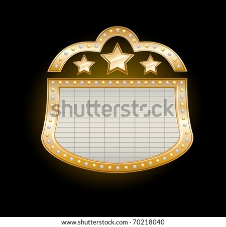 Golden Theater Marquee with stars and  lights on black, vector illustration