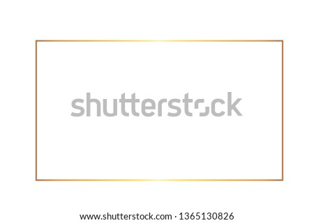 Golden thin rectangular frame on the white background.  Perfect design for headline, logo and sale banner. Vector