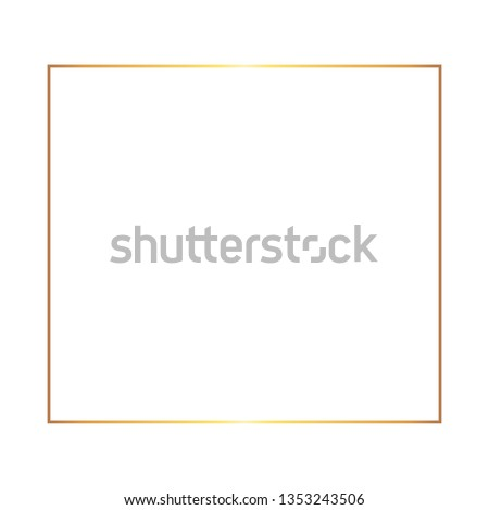 Golden thin square luxury frame on the white background. Perfect design for headline, logo and sale banner. Vector illustration Photo stock ©