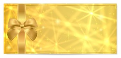 Golden ticket, Gift Certificate / Gift Voucher vector template. Holiday reward carddesign with star golden background. Useful for Coupon, any festival, party, cinema, event, entertainment show