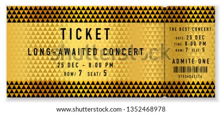 Golden ticket template, Concert ticket (tear-off ticket mockup) on gold and black background with triangle pattern. Useful for any festival, vip party, cinema, event, entertainment show