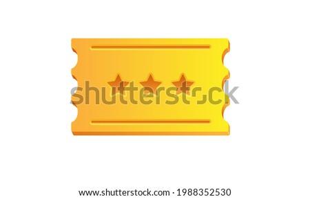 Golden ticket. Vector cartoon illustration. 3d golden ticket with three stars isolated on white background.