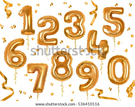 Golden toy balloons and ribbons. Numerical digit. Holiday and party. 3d vector icon set