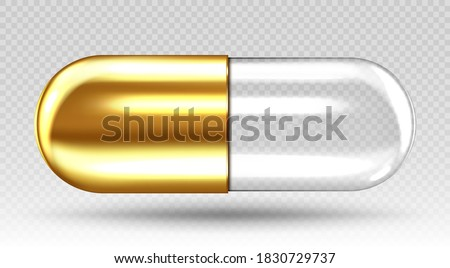 Golden transparent medical capsule isolated on transparent background. Vector realistic illustration Stockfoto ©