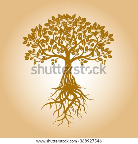 golden tree and roots vector