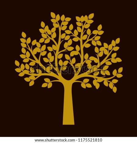Golden Tree on black background. Vector Illustration. Plant in garden.