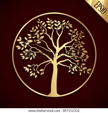golden tree shape   vector