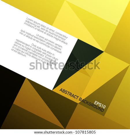 Golden triangles background with space for text. Vector, EPS10