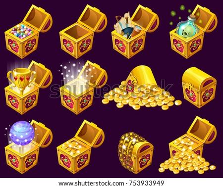 golden trophies in isometric