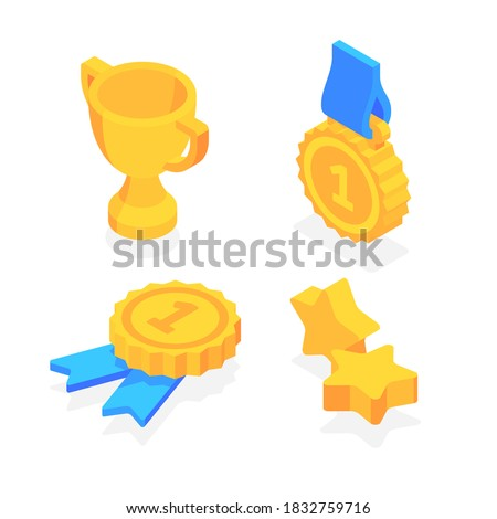 Golden trophy cup, five-pointed gold star, gold medal with ribbon. Flat 3d vector isometric illustration isolated on white background. Photo stock ©