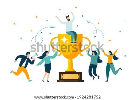 Golden trophy cup, symbol of victory, team celebrating victory. Modern flat style vector illustration.