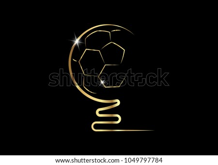 golden trophy soccer ball icon