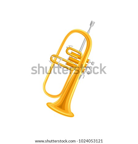 Golden trumpet in flat style. Large brass wind instrument with straight tubing in three sections. Vector design for orchestra and music entertainment poster