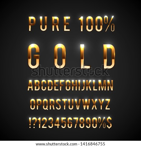 Golden typefaces collection - gold characters set