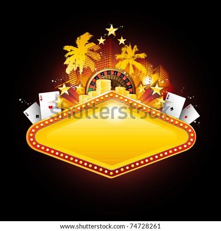 Golden vector casino neon banner sign