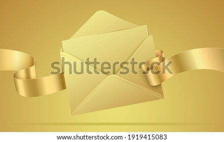 Golden vector envelope mockup. Luxury envelope with the letter, and waving ribbon. Realistic envelope template with celebration, greeting, or invitation card inside, isolated on a golden background.