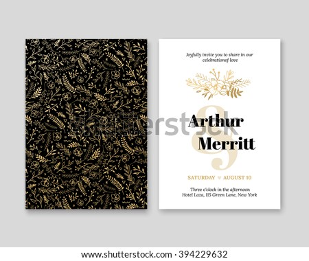 Golden Vector invitation with handmade floral elements. Modern Wedding Collection. Gold, a premium invitation to the feast.