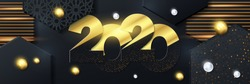 Golden Vector luxury text 2020 Happy new year. Gold Festive Numbers Design, diamonds texture. Gold shining glitter confetti. Happy New Year Banner with 2020 Numbers,ball and material for greeting card