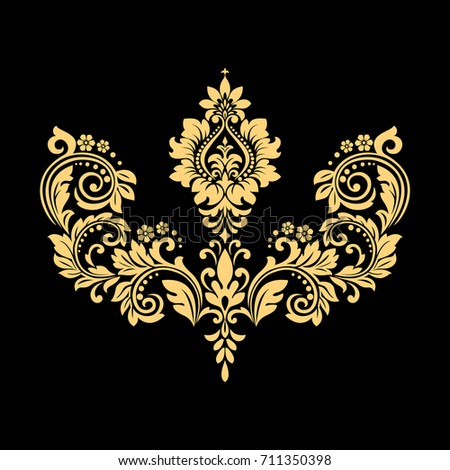 Golden vector pattern on a black background. Damask graphic ornament. Floral design element.