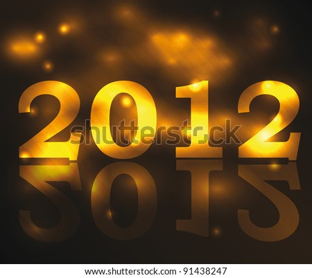 Golden vector symbol for new year 2012 with reflection and nice background