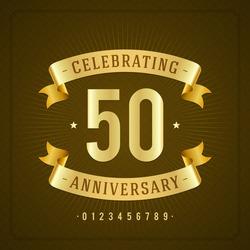 Golden vintage anniversary message emblem. Retro vector background.