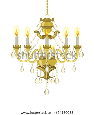 Golden vintage chandelier. Vector chandelier. Chandelier with candles. Vector illustration