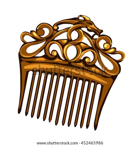 golden vintage hair comb....