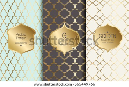 54f0487edce3 Golden vintage pattern. Vector illustration. Gold abstract frame. Label set.  Arabic pattern