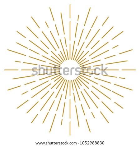 Golden Vintage Sunburst Design Vector Template