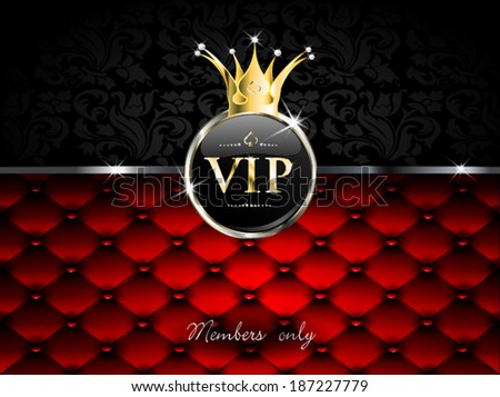 golden vip with crown and drapery