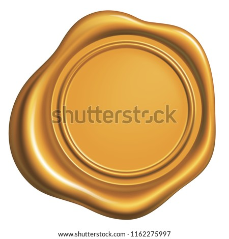 Golden wax Seal Isolated on White Background, Vector Illustration eps 10