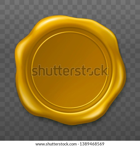 Golden wax seal. Sealing wax old realistic stamp label on transparent background. Top view. Empty golden wax plastic seal with gold foil. Vector illustration