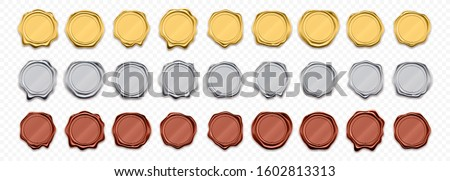 Golden wax stamp, vector icons. Shiny gold stamp seals templates, quality warranty and guarantee certificates, award medals and premium tags, 3D realistic seals