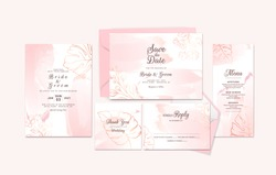 Golden wedding invitation card template suite with floral outline and watercolor brush stroke. Abstract background for save the date, greeting, rsvp, menu, and thank you design