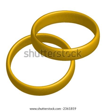 stock vector Golden wedding rings over white background