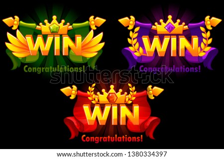 Golden WIN. Vector versions Isolated logo Win with colored precious gems for developing 2D games.