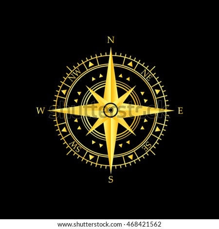golden wind rose icon