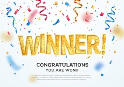 Golden winner word on white background with colorful confetti. Winning vector illustration template. Congratulations with absolutely victory.